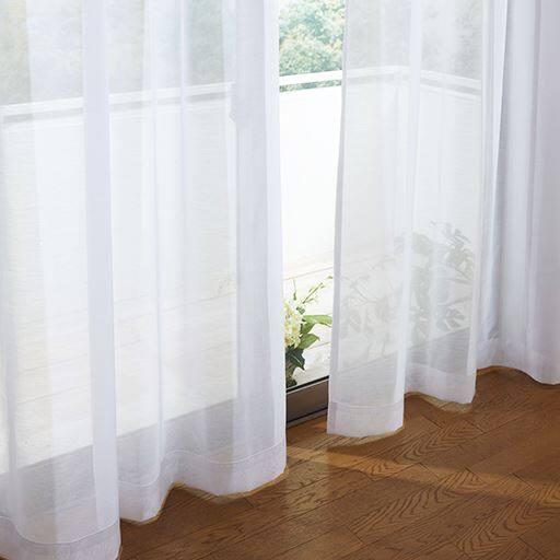 防炎付き透け感のある無地ボイルカーテン