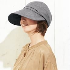 21機能で小顔に見える遮熱遮光UV平天キャスケット帽子<美活計画>