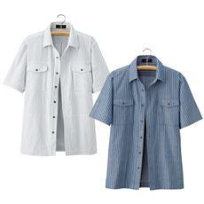 10ポケットストライプシャツジャケット(色違い2枚組)