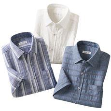 楽らく着られる涼やか半袖シャツ(色違い3枚組)