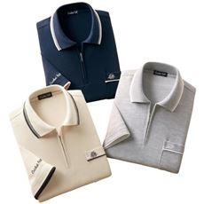 7分袖ジップポロシャツ(色違い3枚組)