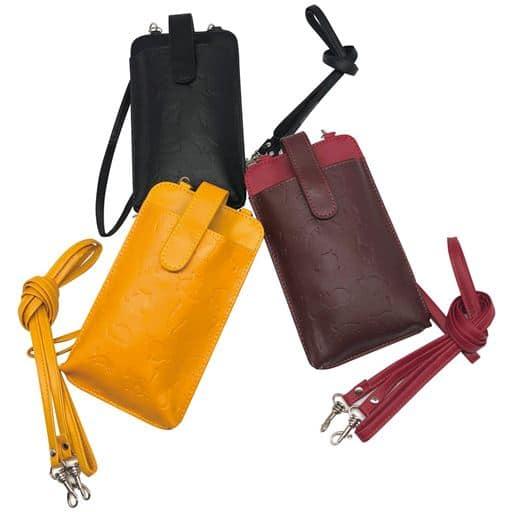 牛革ネコ型押し財布機能付き携帯ケース