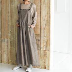 リネンコットン素材のエプロン風サロペットスカート