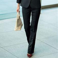 シルエットが選べるスーツパンツ(ストレートパンツ・ブーツカットパンツ)(事務服・洗濯機OK)