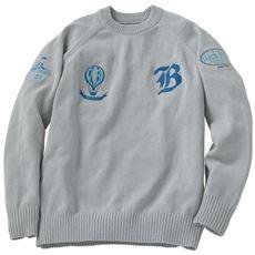 洗える綿混ニット刺繍使いセーター