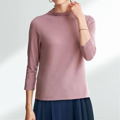 テンセル™繊維混ボトルネック七分袖Tシャツ(日本製・S~4L)