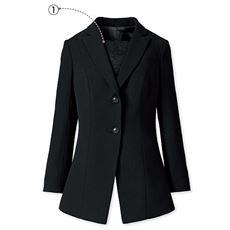 【ぽっちゃりさんサイズ】ロングジャケット(胸当て付き)(ブラックフォーマル)