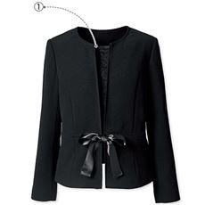 ノーカラージャケット(胸当て・リボン・ボタン付き)(ブラックフォーマル)
