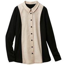 【ぽっちゃりさんサイズ】カットソー使いシャツ