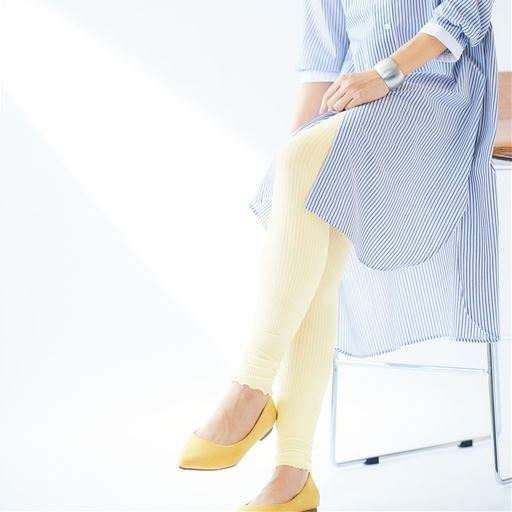 裾メロウのリブレギンス・12分丈