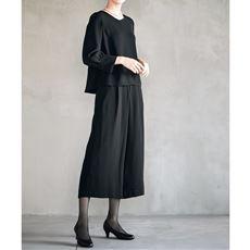 ブラックフォーマルセットアップスーツ(ブラウス+パンツ)(手洗いOK)