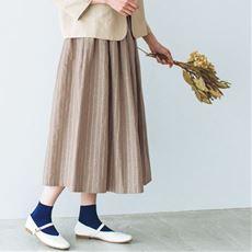 リネンコットンのギャザースカート(ベルト付き)