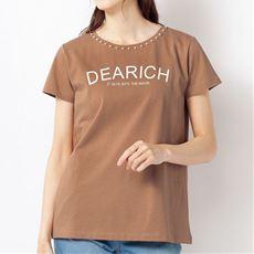 パール調パーツ使いTシャツ(綿100%)