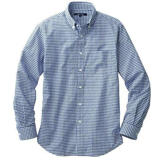 肌触りも着心地もちょうどいい・綿100%先染めジャストライトコットンシャツ(長袖)