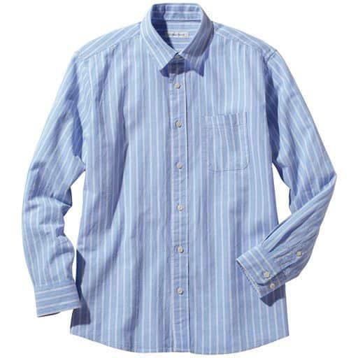 フレンチリネンブレンドストライプ柄シャツ(長袖)