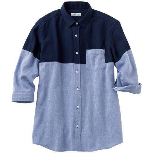 綿100%ピケ素材・切替デザインシャツ(7分袖)