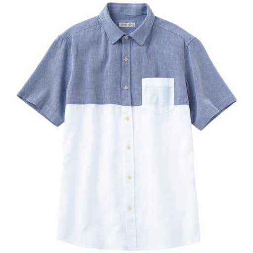 綿100%ピケ素材・切替デザインシャツ(半袖)