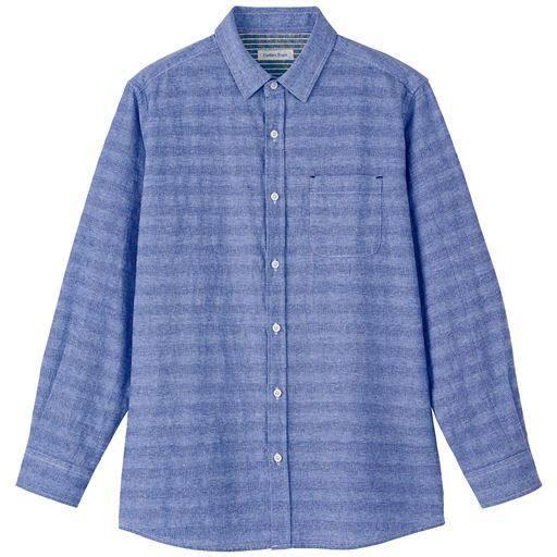 綿100%パナマ織り素材カジュアルシャツ(長袖)