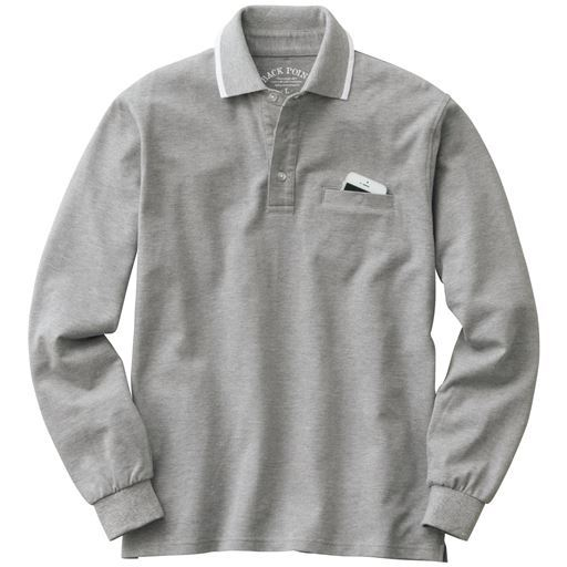 ドライ・綿100%ポロシャツ(長袖) スマホ入れ対応ポケット付き