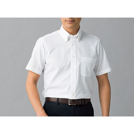 綿100%形態安定Yシャツ(半袖)(お手入れ簡単ワイシャツ)