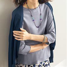 メロウ使い7分袖Tシャツ(綿100%)