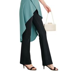 【ぽっちゃりさんサイズ】ニットデニムブーツカットパンツ(スマートニットジーンズ)(美脚パンツ・選べる3レングス)