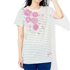 毎日洗える!綿100%半袖プリントTシャツ(セミロング丈)