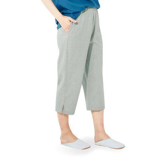 綿100%カプリ丈ルームパンツ(無地・膝下丈)