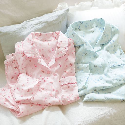 ダブルガーゼのシャツパジャマ<br>(綿100%・日本製)
