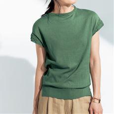 袖透かし編みプルオーバー(綿100%)