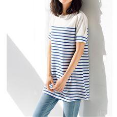 裾フレアドルマンボーダーTシャツ(S~3L)