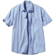 フレンチリネンブレンドストライプ柄シャツ(半袖)