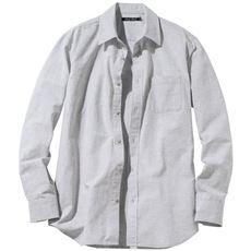 きれいめ仕上げリネンブレンドシャツ(長袖)