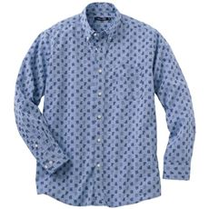 綿100%シャンブレー・プリントシャツ(長袖)