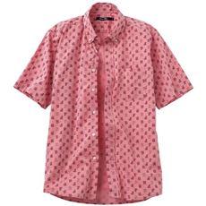 綿100%シャンブレー・プリントシャツ(半袖)