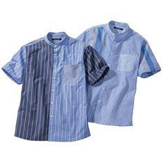 ドライ・ストライプ素材・切替デザインシャツ(半袖)