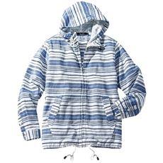 綿100%パナマ織りボーダー柄シャツパーカ