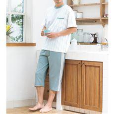 綿100%半袖&7分丈パンツのTタイプパジャマ(パンツ前開き)