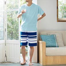 綿混パイルパジャマ(半袖&ハーフパンツ)(男女兼用)