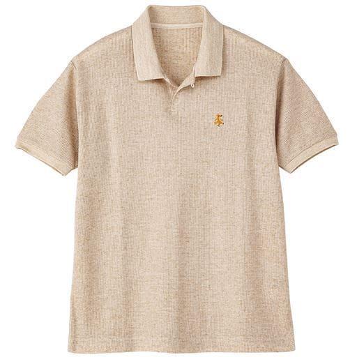 ドライ・麻混素材スキッパーポロシャツ
