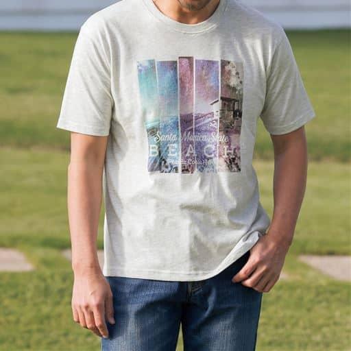 表面変化素材プリントTシャツ