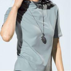 テンセル™繊維混ボトルネック5分袖Tシャツ(日本製・S~4L)