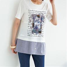 異素材使いプリントTシャツ