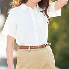 【ぽっちゃりさんサイズ】形態安定シャツ(半袖)(UVカット・抗菌防臭)グラマーさん用サイズ有(胸のサイズで選べる)