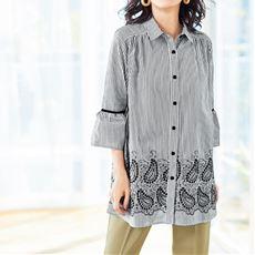 裾刺繍チュニックシャツ(綿100%)
