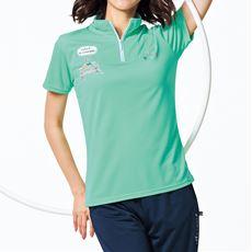 スタンドジップ半袖Tシャツ(ELLE SPORT)(吸汗速乾・UVカット)