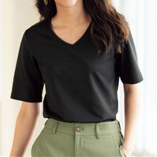 シンプルTシャツ(4分袖)(S~3L・選べる2タイプ)