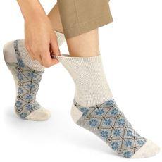 綿麻の足口が伸びるソックス・柄違い2足組