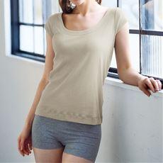 素肌感覚で着られる綿100%インナー(フレンチ袖)
