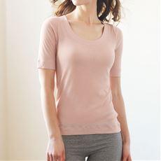 素肌感覚で着られる綿100%インナー(5分袖)